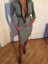Elegant Olive Semi Sheer Long Sleeve Cocktail Party Dress with lace up detail M
