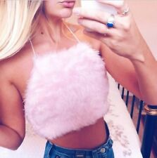 Baby Pink Fluffy Fur Halterneck Crop Top Uk 6/8