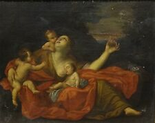 Fine 17th Century Italian Old Master Madonna & Children Antique Oil Painting