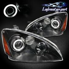 [CCFL Halo]For 2002 2003 2004 Nissan Altima 4DR Sedan Black Headlights Pair