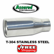 "Resonated Muffler Exhaust Tip T304 Stainless Steel 3.5"" Outlet x 8.5"" Long New"