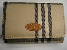 Ladies Purse Wallet Beige Colour Check Patern Trifold Faccino Branded