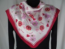 Talbots Silk Square Scarf Hearts Flowers Love Amore  Pink White Red Vintage
