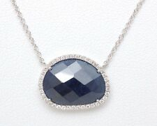 Meira T Designer 6.60ct Rough  Cut Sapphire and .23ct Diamond Necklace in 14KW