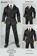 CC213 1/6 DOLLSFIGURE MIB Black Men Suit Full Set-Fit HOT TOYS,TTL etc Bodies