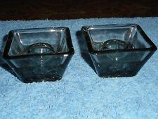 GLASS CANDLESTICK HOLDERS MID CENTURY DANISH CHARCOAL GLASS MADE IN DENMARK