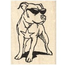 Pit Bull in Sunglasses Rubber Stamp - (RH28002) FREE SHIPPING
