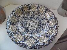 Grand PLAT CREUX,BASSIN,  Maghreb, Afrique du Nord, Poterie SIGNEE diamètre 38cm