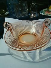 Vintage Pink Depression glass candy dish Swan double handle
