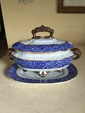 Antique Royal Worcester Elephant  Handles Blue Tureen with Underplate Dated 1883