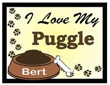 Puggle Personalized I Love My Puggle Magnet