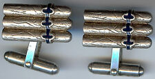 UNUSUAL VINTAGE STERLING SILVER ENAMEL BAND CIGAR CUFFLINKS