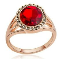 18K ROSE GOLD PLATED CZ RUBY & CHAMPAGNE CRYSTAL OVAL CUT RING. SIZE M, N