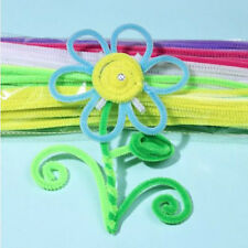 100Pcs Striped Chenille Stems Fluffy Pipe Cleaners Multiple Colours 30cm For Kid