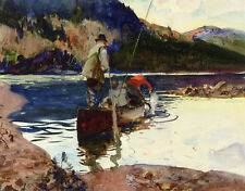 Salmon Fishing  by John Whorf  Giclee Canvas Print Repro