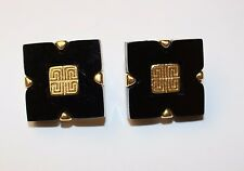 100% Authentic 80s GIVENCHY Paris New York Black Gold Earrings RUNWAY COUTURE