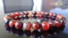Genuine Dream Lace Sardonyx Bead Bracelet for Men Stretch 8mm AAA Agate Onyx 8""