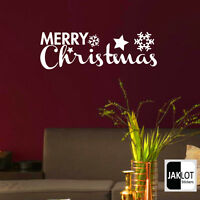 MERRY CHRISTMAS WALL STICKER DECAL TRANSFER DECOR SNOWFLAKES