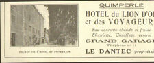 29 QUIMPERLE PUBLICITE HOTEL DU LION D' OR LE DANTEC PROPRIETAIRE 1929