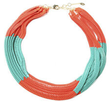 NWT Amrita Singh Chelsea Large Multi Chain Coral Turquoise Bib Necklace NKC 2030