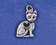 Sterling Silver Plt Cat Heart Charm Pendant Kitten Kitty Lover Rescue Antique