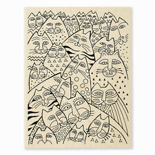 LAUREL BURCH CAT Whiskers Cats Wood Mounted Rubber Stamp Stampendous LBR001 NEW