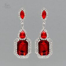 Rhodium Plated Ruby Red Crystal Rhinestone Wedding Drop Dangle Earrings 04832