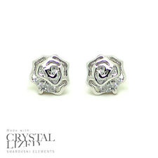 SPARKLE ROSES Swarovski Elements Crystal 18-KRGP White Gold Plated Stud Earrings