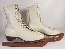 Vintage Fagan Leather Ice Skate Boots Size 6 - Sheffield Steel Blades - England