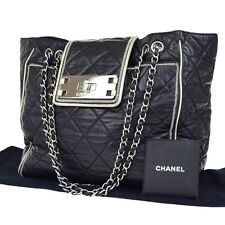 Auth CHANEL Chain Quilted East-West Jumbo Tote Bag Leather Italy VTG 72S678