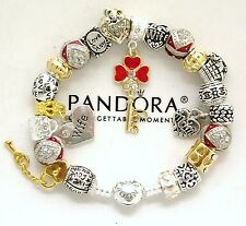 Authentic Pandora Silver Bracelet and European Charms Gold Red Mom Wife New