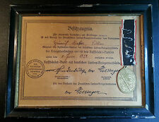 ✚5288✚ German Kyffhauser League Commemorative Medal + framed certificate WW1