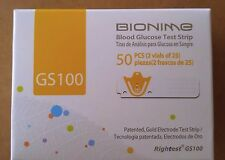 Bionime GS100 Blood Glucose Diabetic Test Strips Exp. 2018 50 ct. Gold Electrode