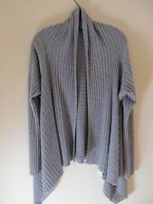 New Eileen Fisher Heather Gray 100% Cashmere Drape Front Cardigan