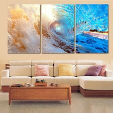 Unframed 3Panel Modern Home Decor Abstract Sea Wave Blue Ocean Wall Painting Art