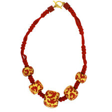 ZSISKA Baroque 5 Graduated Ball Necklace. Red with 24kt gold leaf inlay