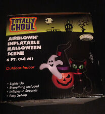 6' Halloween Scene Airblown Inflatable - Gemmy Yard Decor Ghost Pumpkin Cat