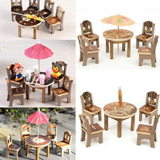 Dollhouse Miniature Furniture Garden Mini Dining Room Table & 4 Chairs  Toys