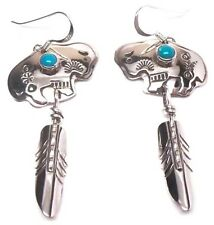 Navajo Sterling Silver French Hook Turquoise Ram Feather Earrings-Jeff James