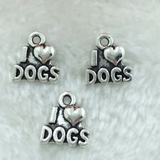 Jewelry Findings,Charms,Pendants,Alloy Antique Silver  I love dogs 12PCS!