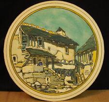 * Aquarelle ronde signée Jean LAUTHE 1918 Rodez Technique mixte Aveyron Rodés