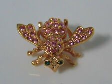 Joan Rivers Pave Crystal BEE PIN Bug Brooch Pink Tourmaline Rhinestones October