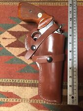 """Ruger GP100 4.2"""" Barrel S&W 586 686 66 19 4"""" Brown Leather Field Holster"""