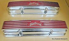 Edelbrock 4145 SBC Cast Alum Valve Covers, w/Matching Oval Air Cleaner, Polished