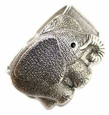 Wild Cute Animal Chunky Wide Hinged Cuff Rustic Silver Tone Elephant Bracelet