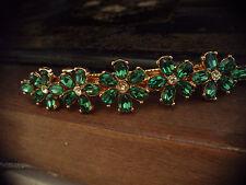 Butler & Wilson Firmado Vintage Verde Turmalina Pasador De Cabello Clip De Cristal