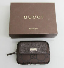 New Authentic GUCCI Coin Purse Card Holder, w/Box Unisex Brown Nylon 217049 2092