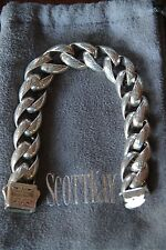 Men's Authentic 8 Inch Scott Kay .925 Sterling Silver Engraved Sparta Bracelet