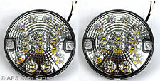 2 x 12/24v 14 LED Hamburger Clear Reverse Light E4 Round Trailer Car Van New
