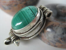 Malachite Silver Gau Locket ~ Gemstone ghau box pendant